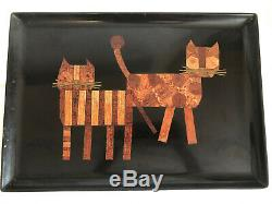 COUROC MCM Black Wood Inlaid Cocktail Serving Tray 2 CATS Kitty Bar Barware Mod