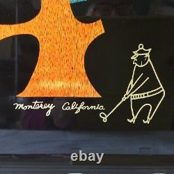 COUROC MONTEREY Inlaid Wood Brass TRAY THE MARK THOMAS INN CA GOLFER 18X12.5