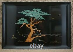 COUROC Serving Tray MONTEREY CYPRESS Brass & Wood Inlay MCM