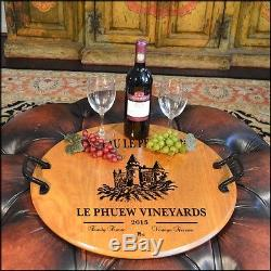 Castle Vineyard Barrel Head Serving Tray with Wrought Iron Handles, Home or Bar