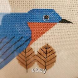 Charley Harper Bluebird Cross Stitch Wood Glass Serving Tea Tray Embroidery