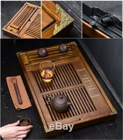 China solid wood tea tray with cup holder wooden tea table plastic layer L54cm