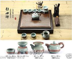 Chinese complete tea set Wenge solid wood tea tray brother kiln tea pot tea cups