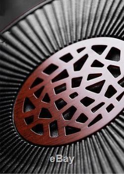Chinese crude pottery tea tray solid wood base drainage outlet porcelain tea set