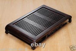 Chinese solid wood tea tray ebony tea table kung fu side table handmade carved
