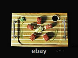 Chris Craft Serving Sushi Rectangular Tray 14.5 Red Cedar Wood Nautical Decor