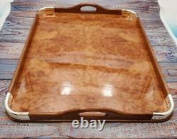 Christofle Serving Tray, Birds eye Maple with Silver corners