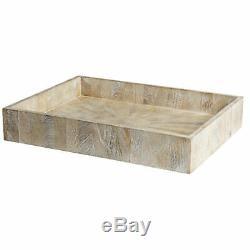 Classic Large Drift Wood Serving Tray 24 Decorative Light Coastal Bar Neutral