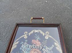 Col Ww Antique Needlepoint Wood Handled Serving Tray