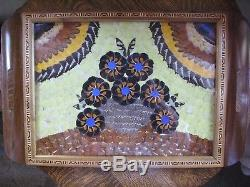Collectible Vintage 20 x 13 Inlay Wood Butterfly Wing Serving Tray Brazil Unused