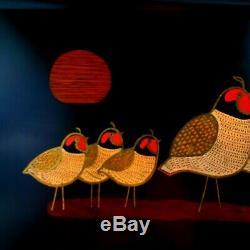 Couroc Monterey Bobwhite Quail Family Serving Tray Inlay Wood Bronze Rectangle