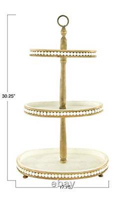 Creative Co-Op DF2829 Decorative Oval 3-Tier Wood Handle Tray, Cream