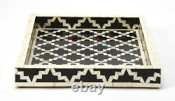 Curved Bone Inlay Handmade Moroccan Indian Black Wooden Serving Vintage Tray