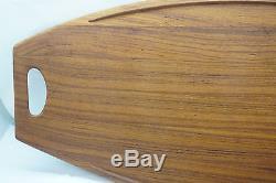 DANSK TRAY SET OF 2 WOOD TEAK SURFBOARD NO 803 IHQ DENMARK 26.5in LONG SERVING