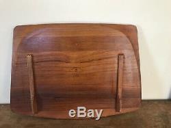 DANSK Vintage HUGE Wood Cutting Board Serving Tray IHQ Staved Teak RARE Danmark