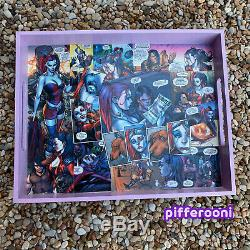 DC Comics Harley Quinn art decoupage collage comic dice Wood Serving Tray