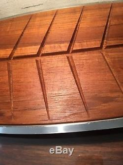 Danish Modern Teak Wood Cutting Board with Stelton 18/8 Stainless Serving Tray