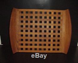 Dansk Designs Teak Wood Lattice Trivet Serving Tray Jens Quistgaard 18.5