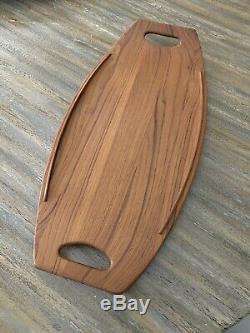 Dansk Teak Wood Surfboard Serving Tray Mid-Century Modern Denmark