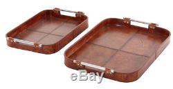 Darby Home Co Shelburn Wooden Leather 2 Piece Serving Tray Set