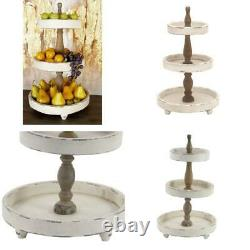 Decmode Large, 3-Tier Distressed White and Natural Wood Round Serving Tray Sta