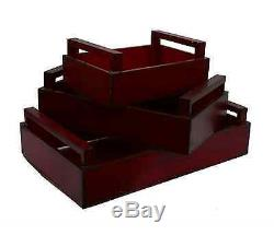 Decor Therapy Stylish Red Distressed Wood Rectangle Ktichen Serving Tray Set NEW