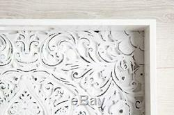 Decorative Serving Tray for Ottomans Large Square with Handles White Carved Wo