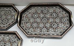 Decorative Wood Serving Tray Set, Mother of Pearl Inlaid, Breakfast Ottoman Tray