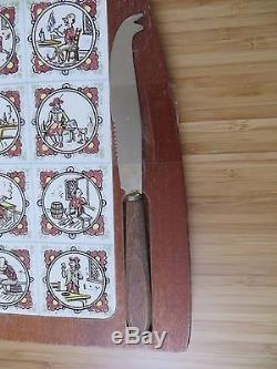 Dutch folk art illustration cheese board serving tray knife wooden wood amish