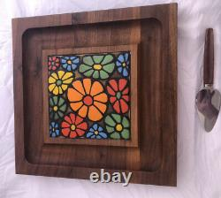 Earnest John Creations Teak Wood & Porcelain Tile Square Cheese Tray Brass Foots