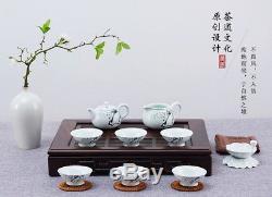 Ebony Solid Wood Gongfu Tea Serving Tray Reservoir & Drainage Type 42x30x7cm