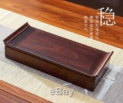 Ebony Wood Chinese Gongfu Tea Serving Tray in Cotton Travel Bag 37x15x7.6cm