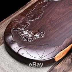 Ebony wood tea tray full handmade carved tea table large serving tray L75cmW36cm
