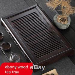 Ebony wood tea tray handmade carved peony flower Chinese solid wood tea table