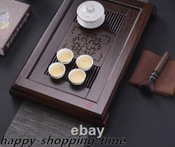 Ebony wood tea tray handmade carved tea table Chinese solid wood tea boat L52cm