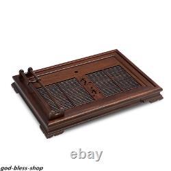 Ebony wood tea tray handmade carved water draining tea boat wooden cup holder