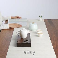 Ebony wood tea tray reservoir / water draining tea table lotus carved small tray