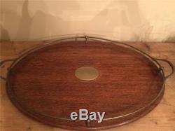 Edwardian Oak and Brass Serving Tray
