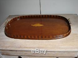 Edwardian Shell inlaid Tray serving/butlers/Solid brass handles/boxwood inlay