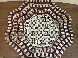 Egyptian Handmade Beech wood Tray inlaid Mother of Pearl (Set of 3)