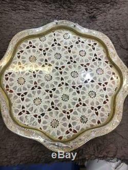 Egyptian Handmade Beech wood Tray inlaid Mother of Pearl Set of 3