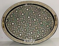 Egyptian Handmade Serving wood Tray inlaid Mother of Pearl 41 cm X 33 cm