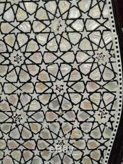 Egyptian Handmade wood Tray Serving inlaid Natural Mother of Pearl Set of 3