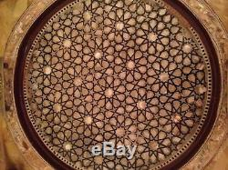 Egyptian Handmade wooden Tray inlaid Mother of Pearl Set of 3