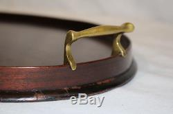 English Edwardian Mahogany Serving Tray with Brass Handles & Inlaid Center