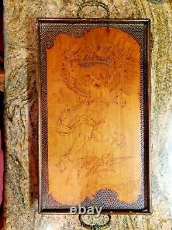 Engraved Carved Wood Tray Artist Art Vintage Serving Farmhouse Wall Decor Ornate
