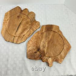 Enrico Wood Root Serving Trays Charger Plate Set of 2 #T13