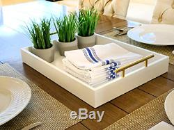Esther Decorative Coffee Table Tray White and Gold, Wood Serving Tray for or
