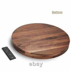 Extra Large Round Black Walnut Wood Ottoman Tray with Handles, Serve 20 Inches