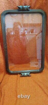Extra Large Vintage Glass Wooden Serving Tray 66cm long